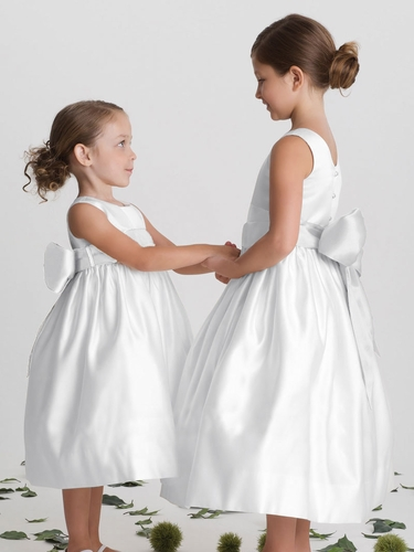 US Angels White Satin Dress with Sash