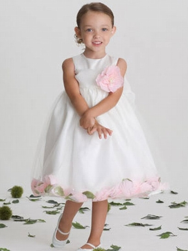 US Angels 705 Satin Tulle Sleeveless Petal Dress White/Pink