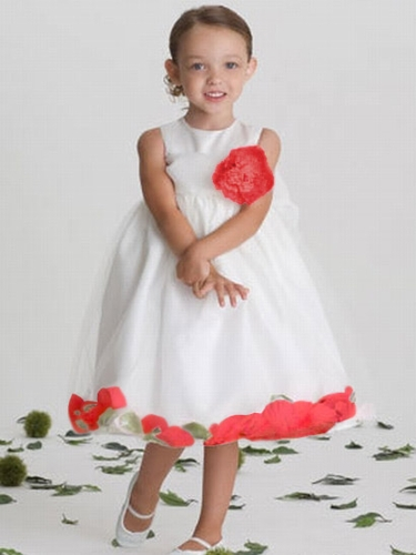 US Angels 705 Satin Tulle Sleeveless Petal Dress White/Red