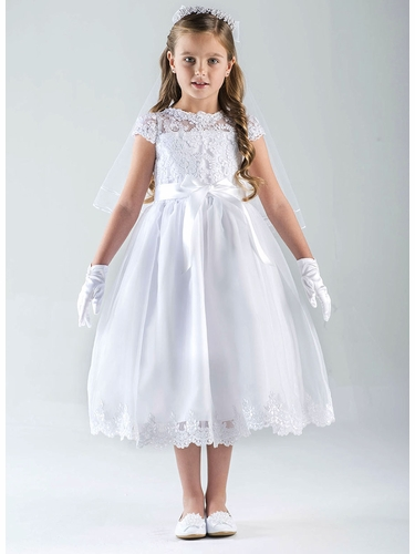 Us Angels Cap Sleeve Illusion Lace Bodice w/ Full Skirt & Lace Hem Dress