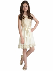 Us Angels Cream Chiffon Gold Sequin Dress