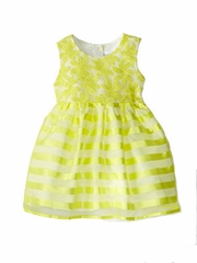 Us Angels Infant Yellow Sleeveless Daisy Embroidered Organza Striped Dress