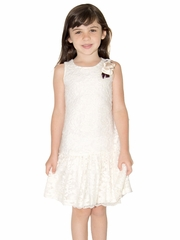 Us Angels Ivory Fuzzy Lace Drop Waist Ruffle Dress