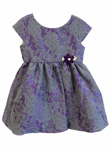 Us Angels Plum Floral Brocade Cap Sleeve Tie Back Dress