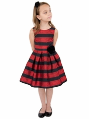 Us Angels Ruby Lace Stripe Brocade Dress