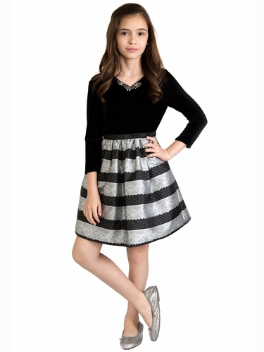 US Angels Silver Velvet Lace Stripe Dress