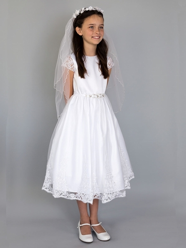 US Angels White Embroidered Scalloped Sleeve & Skirt w/ Beaded Waist