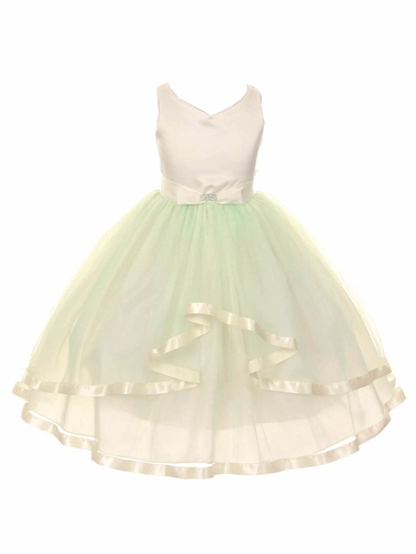 V-Neck Satin Bow 3 Layer Mint Tulle Dress