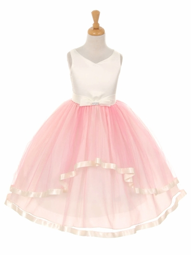 V-Neck Satin Bow 3 Layer Pink Tulle Dress
