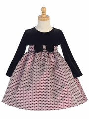 Velvet & Pink Jacquard Dress W/ Bows