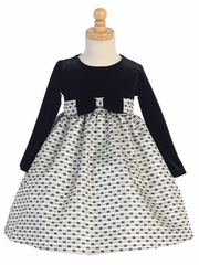 Velvet & Silver Jacquard Dress W/ Bows