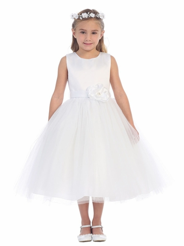 White Satin Bodice w/ Glitter Tulle Skirt Dress