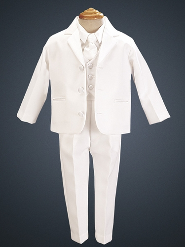 White 5 Piece Three Button Satin Tuxedo w/ Vest & Tie