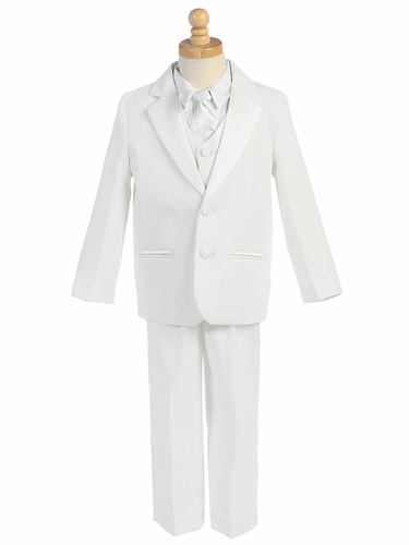 White 5 Piece Two Button Tuxedo w/ Any Color Vest & Clip-On Necktie
