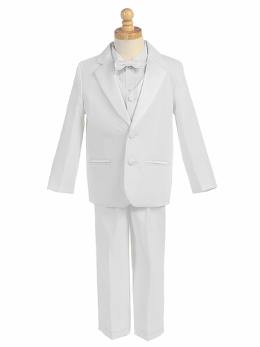 White 5 Piece Two Button Tuxedo w/ Vest & Bowtie