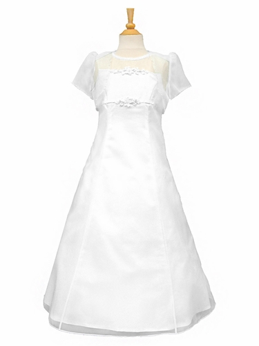 White A-Line Communion Dress w/ Beaded Organza & Short Sleeve Bolero