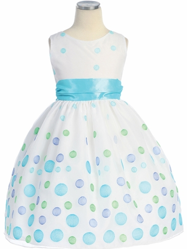 White/Aqua Multicolored Polka Dot Embroidered Organza Dress