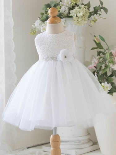 White Baby Tulle Dress w/ Floral Lace Bodice