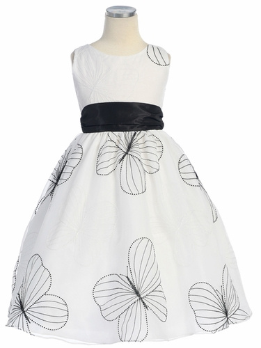 White/Black Large Butterfly Embroidered Organza Dress