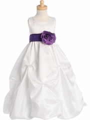 White Blossom Shantung Organza Dress w/Detachable Sash & Flower