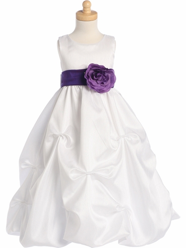White Blossom Sleeveless Shantung Organza Dress w/Detachable Sash & Flower