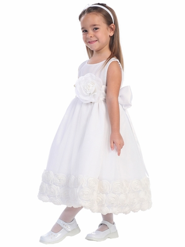 White Blossom Sleeveless Tulle Dress w/ Floral Ribbon Edge & Detachable Sash & Flower