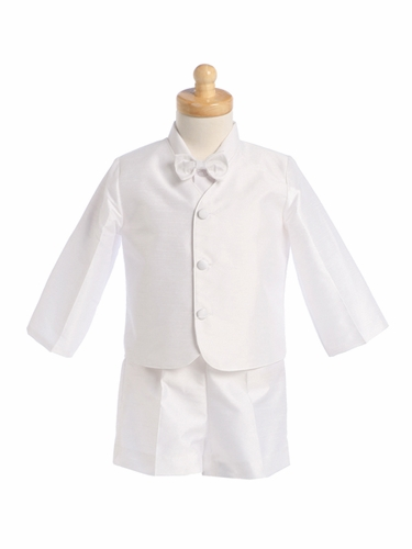 White Boys Poly Silk Eton Jacket & Shorts
