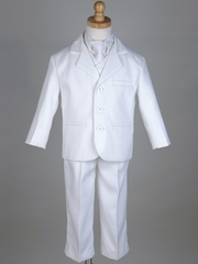 Boys' White 5 Piece Suit