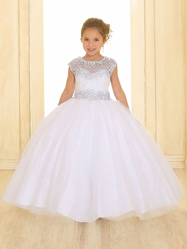 White Cap Sleeve Sparkling Organza Ball Gown w/ Beaded Neckline & Waist