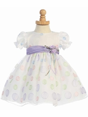 White Cap Sleeved Organza Dress w/ Polka Dot Embroidery & Lilac Sash