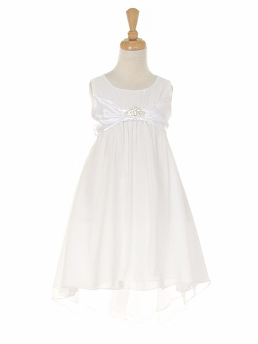 White Chiffon High Low Dress