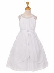 White Chiffon Pleated Jeweled Neckline Dress