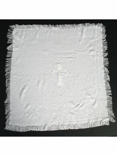 White Christening Blanket w/Embroidered Cross