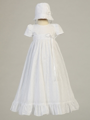 White Christening Embroidered Cotton Gown