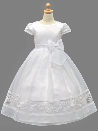 White Communion Dress w/ Bottom Embroidery & Bow