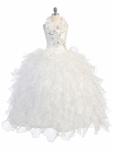 White Communion Dress w/ Embroidered Bodice & Ruffle