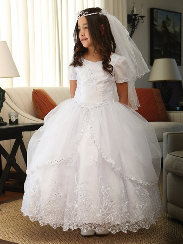 White Communion Embroidered Organza Dress w/ Pick-Up Organza Overlay