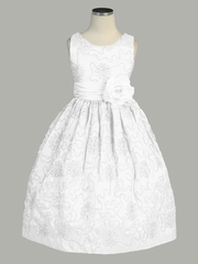 White Cord Embroidered Taffeta Dress