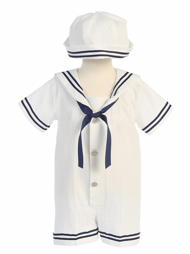 White Cotton Seersucker Sailor