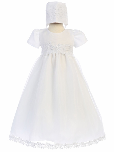Christening Organza Gown w/ Corded Trims & Sequins