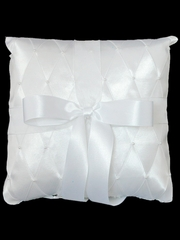 White Criss-Cross Ring Bearer Pillow