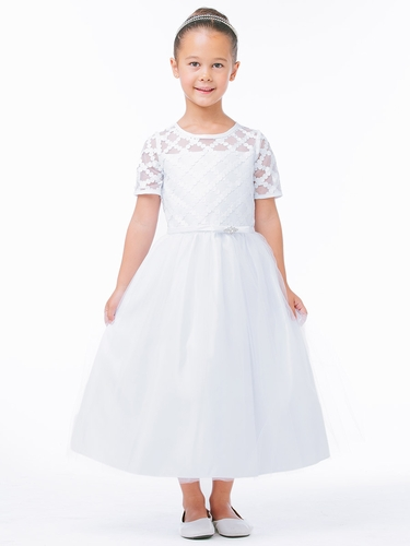 White Cross Hatch Satin Dress w/ Sleeves
