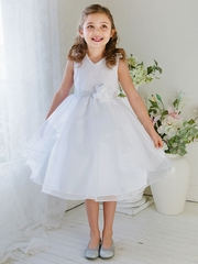 White Double Layered Organza Dress w/ Embroidered Bodice