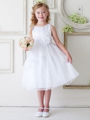 White Double Layered Organza Dress w/ Satin Bodice