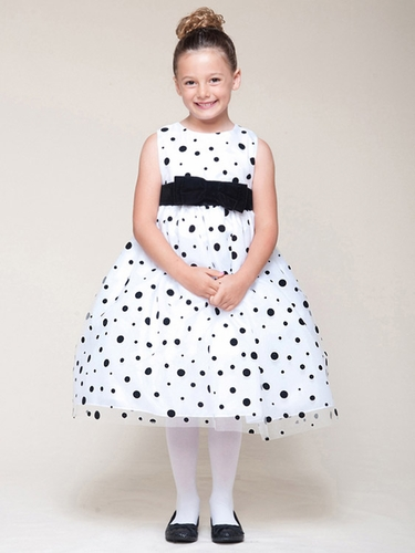 White Dress w/ Black Velvet Bow & Dots