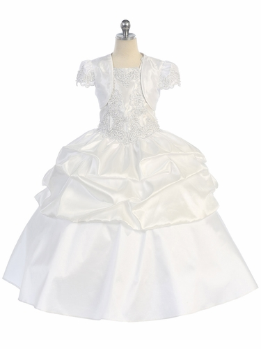 White Embroidered Appliqué Bodice Dress w/ Convertible Length Skirt & Matching Bolero
