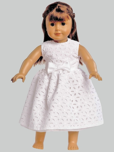"White Embroidered Cotton Dress for 18"" Doll"