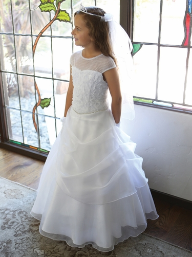 White Embroidered Mesh Illusion Neckline w/ Draped Organza Skirt