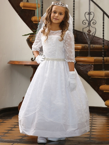 White Embroidered Mesh Over Taffeta Dress w/ � Lace Trim Sleeves