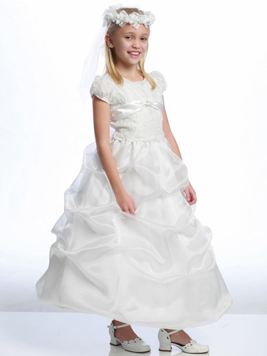 White Embroidered Organza First Communion Dress